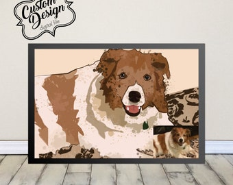 Custom Pet Portrait from photo, Personalized Gift Idea for Pets & Pet Lovers Custom, Abstract Home Decor, Printable, pdf, jpg