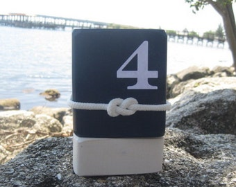 Wood Table Number-Nautical wedding decor - beach wedding decor - seaside wedding-navy with rope figure eight knot