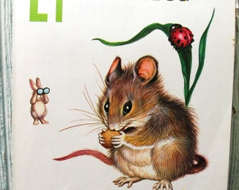 Vintage Illustration Children's Alphabet Book Page M is for Mouse L is for Ladybug Nursery Decor