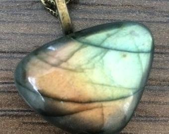 Labradorite Pendant, Labradorite Jewelry, Labradorite Necklace, Flashy Labradorite, Large Labradorite, Polished Labradorite, Faceted Stone