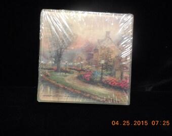 Coasters LAMPLIGHT LANE Thomas Kinkad Glass Coasters