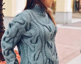 Handmade knitted braided sweater woman pullover braided woman woman sweater wool sweater chunky jumper oversized jersey woman braided jersey