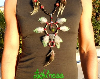 "Necklace feathers in natural ""Ava"""