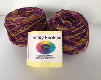 Fundee Footsee from Done Roving Farm Yarns- Ocean Flora - 2 skein lot...free shipping