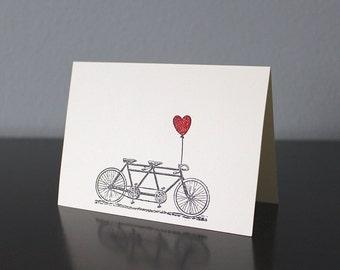 Handmade Tandem Bike & Red Embossed Heart Card