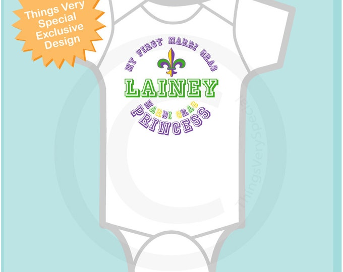 My First Mardi Gras Onesie or t-shirt, Personalized Mardi Gras Shirt or Onesie, Mardi Gras Shirt for Toddlers and Kids