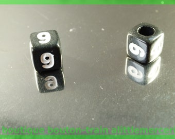 number 9 cube bead 7 mm black and white plastic