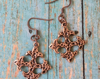 CROSS Earrings Copper Square Hammered Charms Pewter Dangle Pierced