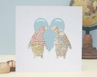 Penguins In Love Vintage Map Personalised Valentine's Day Card, Wedding, Anniversary Card, Romantic Personalised Keepsake Card