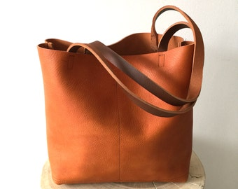 sale - Brown Leather Tote Bag - camel brown Leather Bag - Large brown Leather Market bag - tan leather bag- Sale