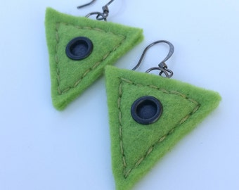 Modern lightweight olive green felt earrings