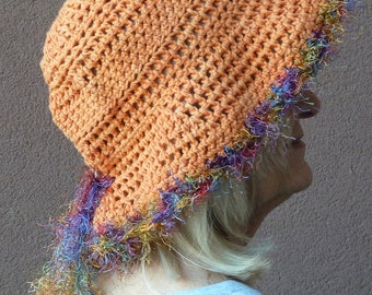Chemo hat, floppy hat with a brim, women's crochet hat in orange, women's summer fashions, Bohemian hat, free shipping in USA, gift for her