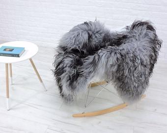 """Luxury real Icelandic sheepskin rug """"Mongolian style"""" curly grey/black, i231"""