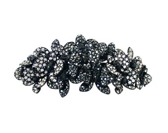 Large Crystal Butterfly Cluster Hair Barrette Clip Accessory Ponytail Holder Black Plated Black Gray Grey