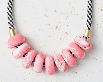 Beaded necklace, Chunky necklace, Pastel Modern necklace, Statement jewelry, Urban jewelry, Geometric gift Polymer Clay jewelry Pastel Beads