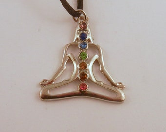 Chakra point Lotus  Necklace: Natural Crystal Pendant, Stone Jewelry