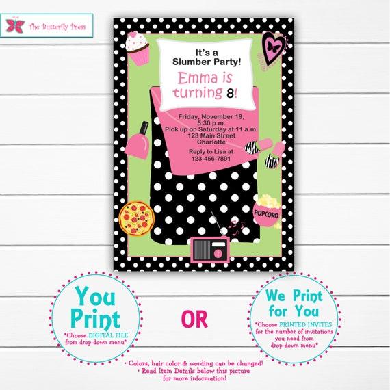 Slumber party birthday invitation pajama party sleepover filmwisefo