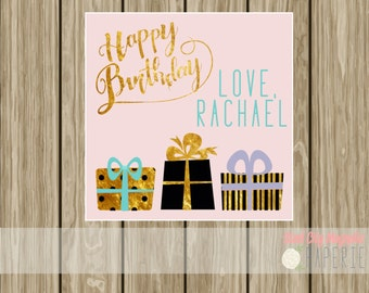 Personalized Birthday enclosure card, birthday tag, calling card, hang tag, birthday card, pink, gold, black, digital printable