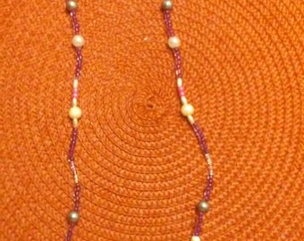 White TurquoiseTurtle,White Beads, Grey and Purple Beads