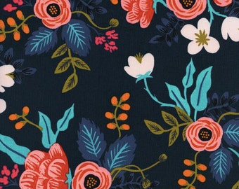 RAYON Birch Floral in Navy by Rifle Paper Co, Les Fleurs Collection for Cotton and Steel, Rayon, Rayon Challis, Floral Fabric, 8008-25