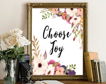 Choose joy print, Typography Quote, Motivational Sign, Inspirational Print, Quote Print ,Dorm wall art Motivational Art, Joy Quote Print