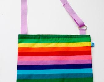 Washable, Eco-Friendly Car Trash Bag in Rainbow Stripes Fabric
