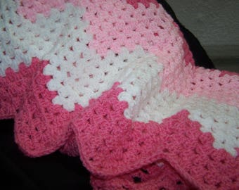 Pink and White Baby Afghan