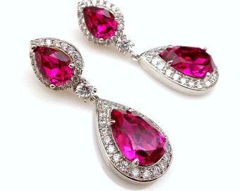 wedding bridal earrings jewelry christmas prom party bridesmaid gift cubic zirconia swarovski hot pink fuchisa crystal teardrop pear cz post