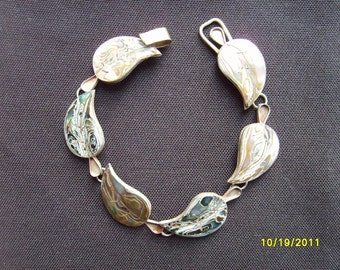 Sterling Silver Abalone Shell Bracelet,  Abalone Jewelry,  Fashion Jewelry Accessories, Sterling Bracelet, Leaf Bracelet