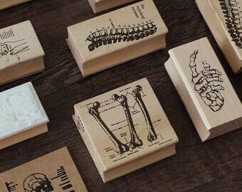 Human Skeleton Stamp, Bones Stamps, Skull Stamp, Vintage Wooden Rubber Stamps, Diary Stamp Set