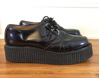 Free US Shipping | Vintage 90s Underground Wulfrun Double Sole Mens Midnight Purple Patent Leather Creepers | US 9