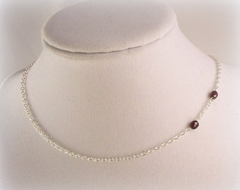 Garnet Vampire Bite Necklace - Sterling Silver Plated Chain & Clasp *LAST ONE*