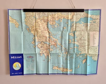 FREE WORLDWIDE SHIPPING - 1960s vintage tourist map of Greece for your next holiday