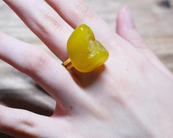 Natural Yellow Stone Pebble Rings For Women/ Girls Jewelry