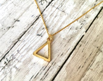 Pyramid Triangle Dainty Gold Necklace Geometric Triangle Gold plated Necklace Bridesmaid Gift Handmade Dainty Jewelry Tiny Necklace