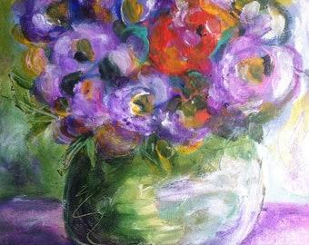 Floral Purple Haze Original Acrylic Painting/Wall Art/Wall Decor/