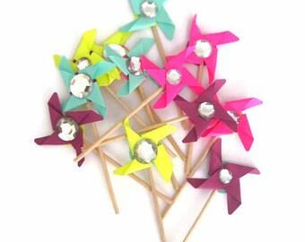 Pinwheel Cupcake Toppers,Cupcake Topper,Pinwheels, Wedding cupcake toppers,Birthday cupcake Toppers, Cupcake Toppers Baby Shower,Baby Shower
