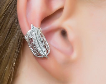 Feather Ear Cuff. silver earcuff. tribal ear cuffs. ear cuff non pierced. feather earrings. ear cuffs earring. ear cuff silver. boho jewlery