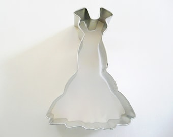 "4"" Wedding Gown Cookie Cutter Tin Plated Steel Fondant Prom Dress Bride Groom"