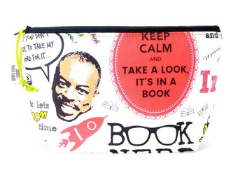Gusseted Zipper NOTIONS POUCH with zipper pull - Reading Rainbow