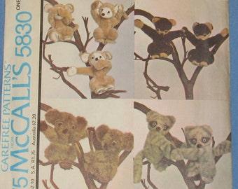 Monkey, Raccoon, Koala, and Bear Stuffed Animal 1970s Vintage Sewing Pattern MCCALL'S 5830
