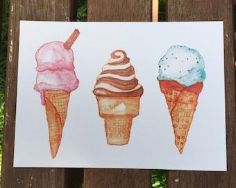 Food & Kitchen | Hostess Gift | Housewarming Gift | Foodie Gift | Watercolour Ice Cream Cone Dessert Illustration Unframed 5x7 Art Print