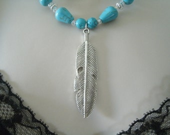 Silver Feather Turquoise Necklace, southwestern jewelry southwest jewelry turquoise jewelry native american jewelry style country western