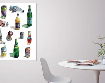 The Big Seltz - 24x36 Watercolor Seltzer Large Scale Poster - Oversized Print Statement Art