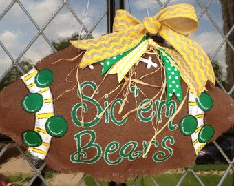 Baylor football burlap doorhanger