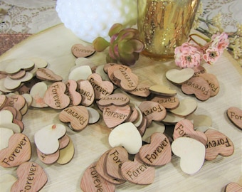 "100 ""Forever"" Hearts ~ 1"" Wood Hearts ~ Wedding Decor ~ Wedding Confetti ~ Wooden Confetti ~ Wedding Invitations ~ Summer Wedding"