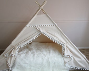 Pompom bed teepee, tent bed canopy, teepee canopy for bed, kids Teepee, tipi, Play tent,with canvas and Overlapping front doors