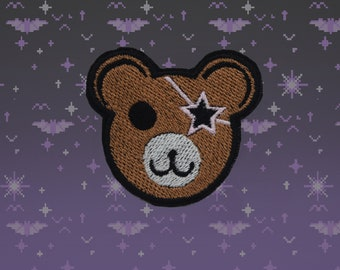 Starbear -  Shiny Metallic  Iron on patch - Kawaii - Fairy Kei - Sci fi
