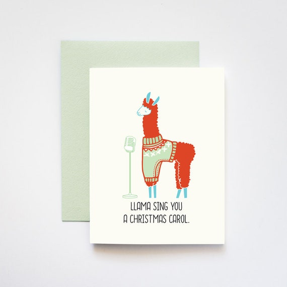 Llama Sing You a Christmas Carol Greeting Card