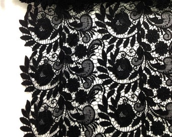 Black Tulip Guipure French Venice lace